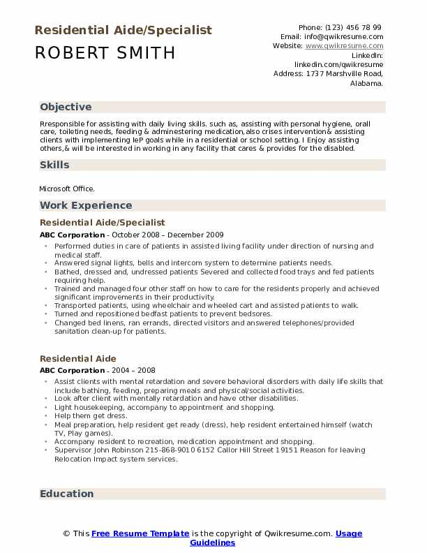 Residential Aide/Specialist Resume Template