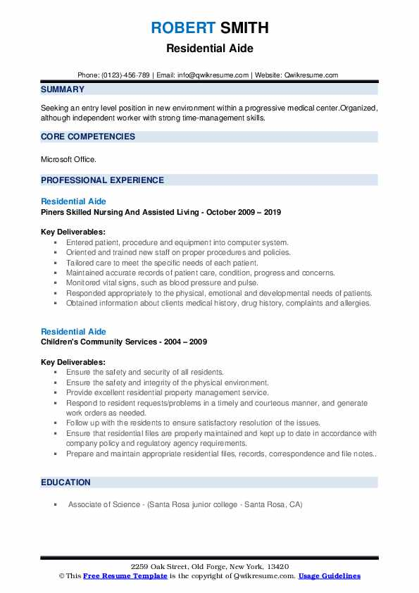 Residential Aide Resume example