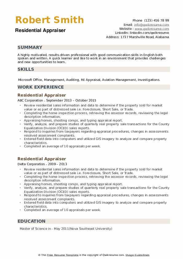 Residential Appraiser Resume example