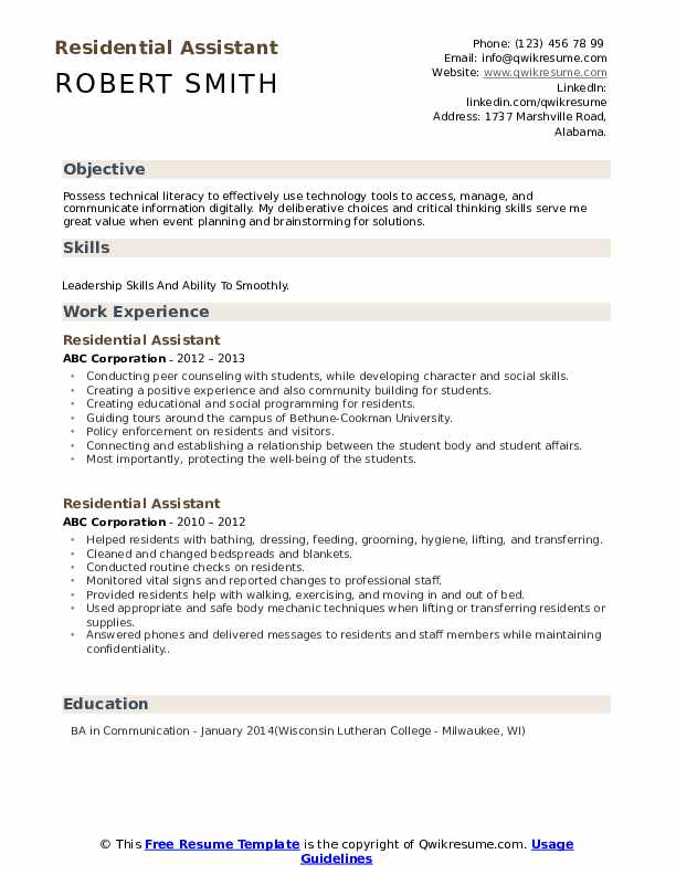 Residential Assistant Resume Format