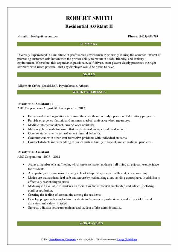 Residential Assistant II Resume Sample