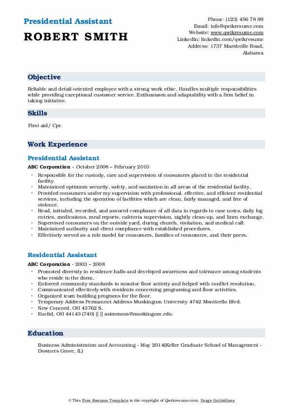 Presidential Assistant Resume Sample