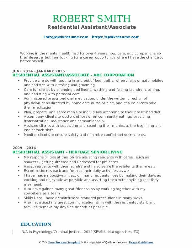 Residential Assistant/Associate Resume Format