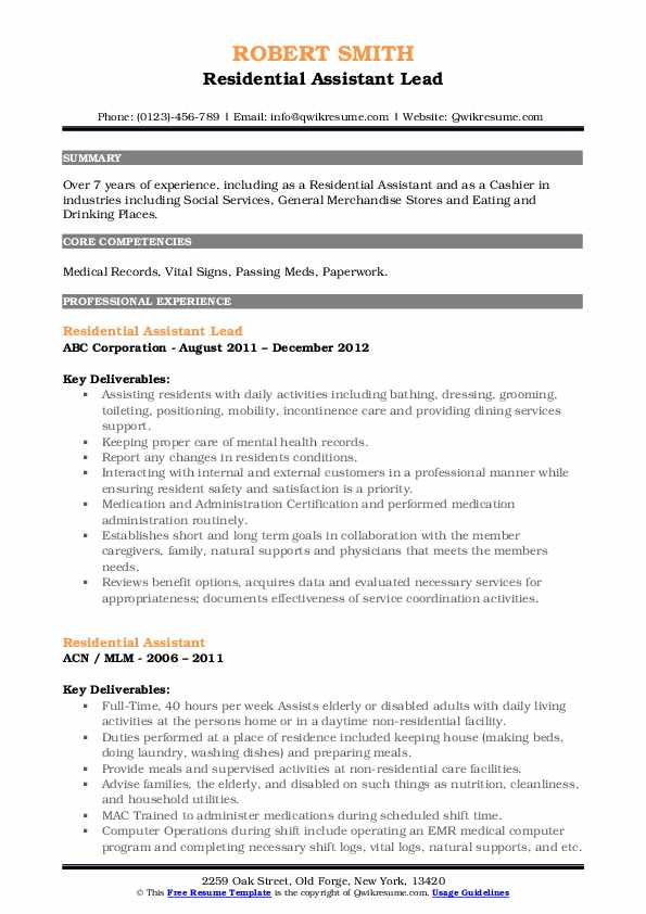 Residential Assistant Lead Resume Format