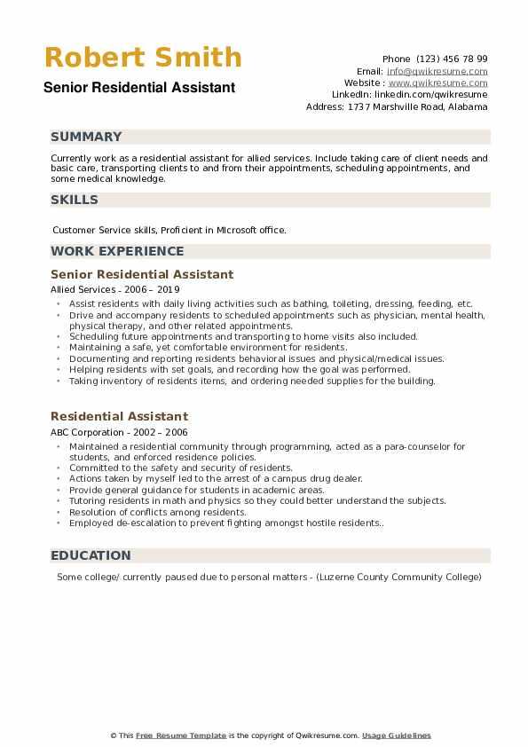 Senior Residential Assistant Resume Model