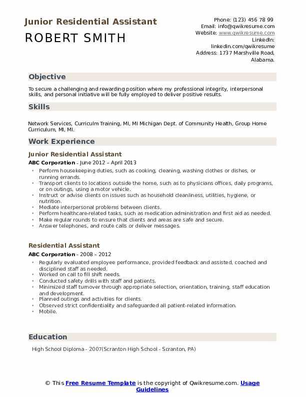 Junior Residential Assistant Resume Format