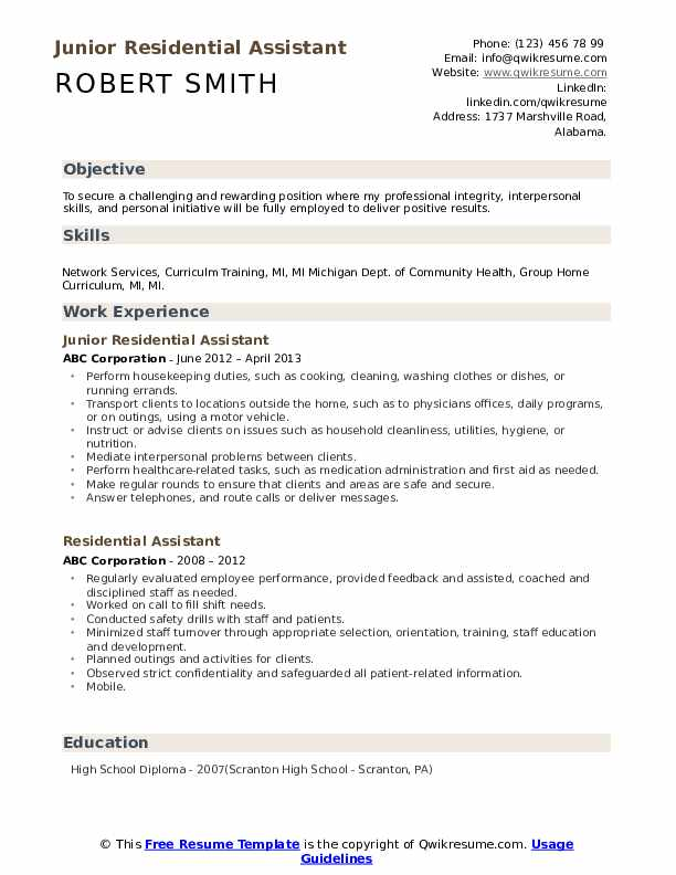 Direct Service Provider Resume example