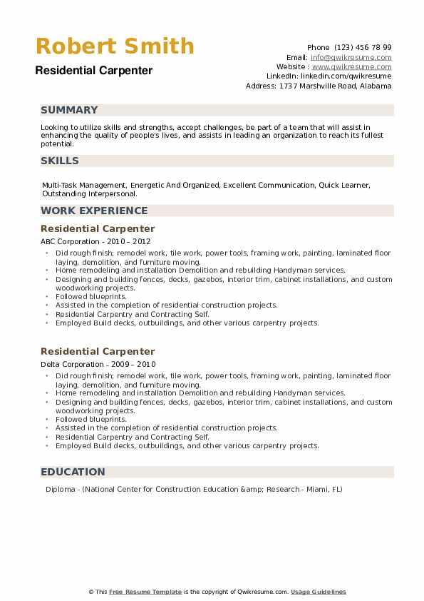 Residential Carpenter Resume example