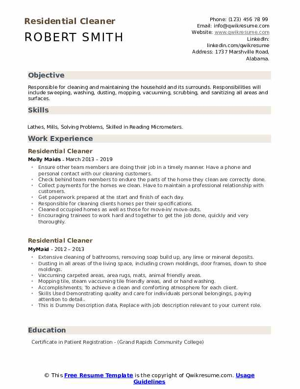 Residential Cleaner Resume example