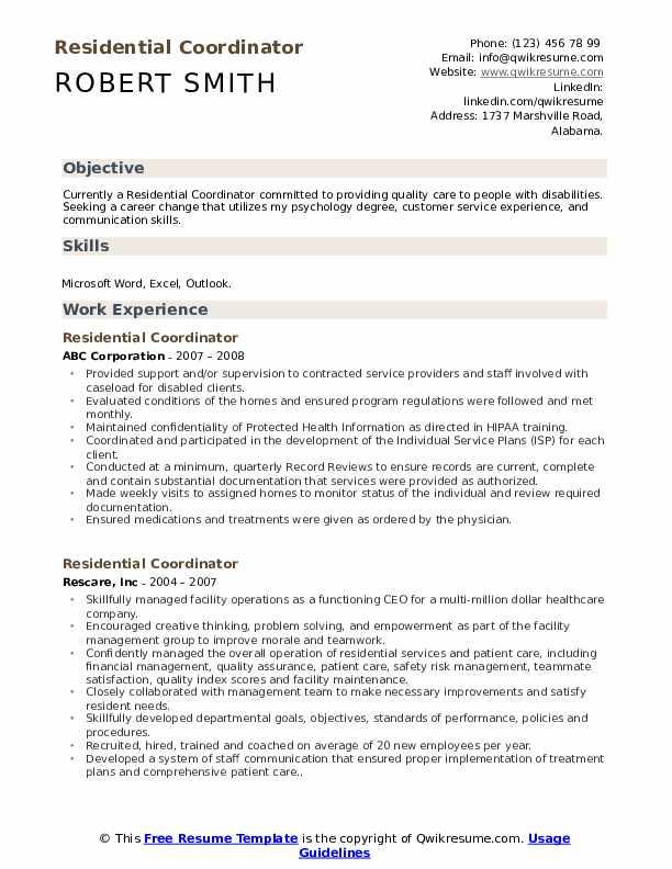 residential coordinator resume samples