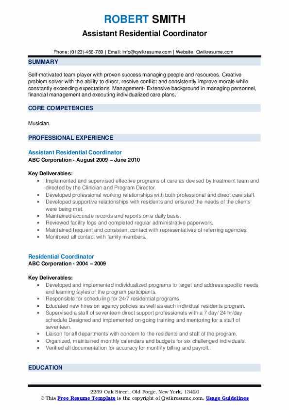 Assistant Residential Coordinator Resume Model