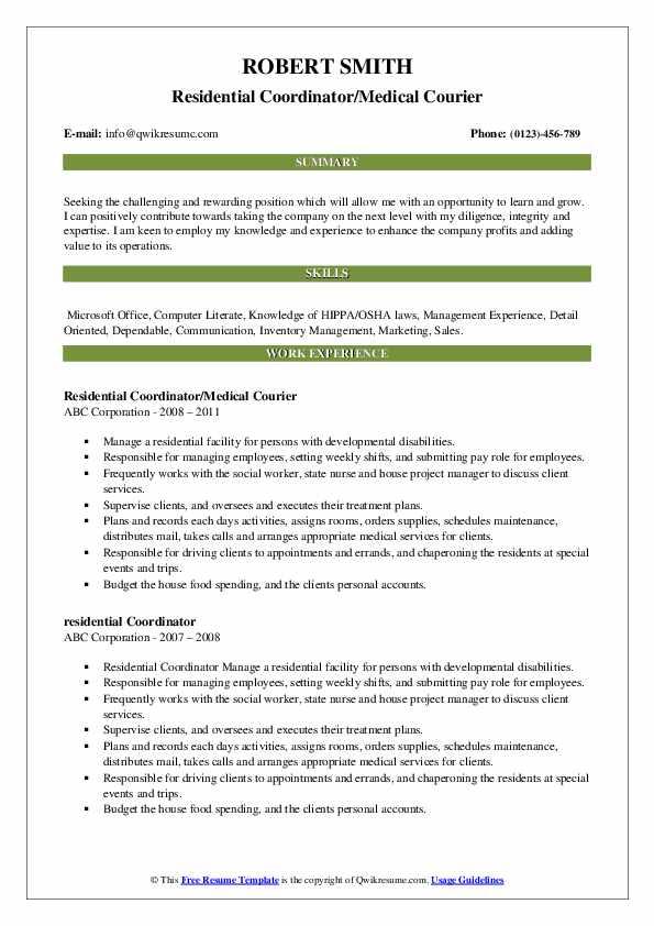 Residential Coordinator Resume Samples Qwikresume