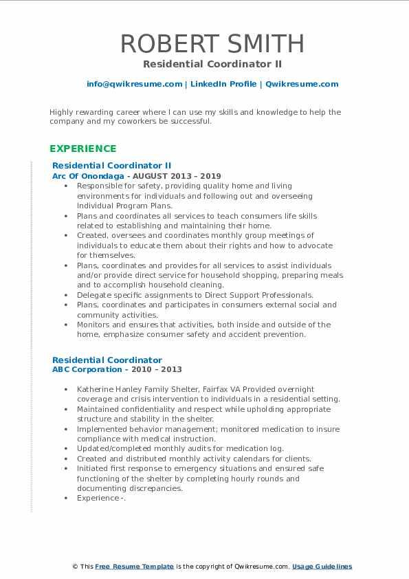Residential Coordinator II Resume Sample