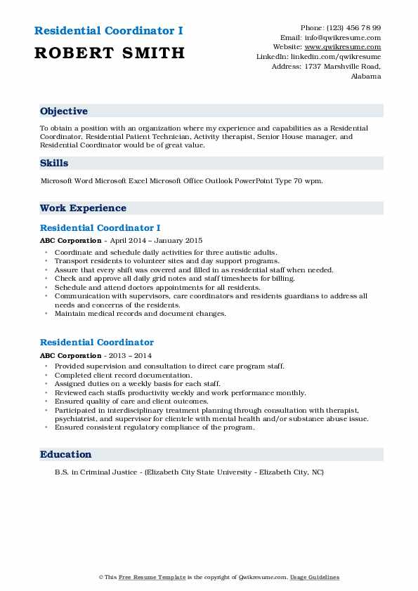 Residential Coordinator I Resume Template