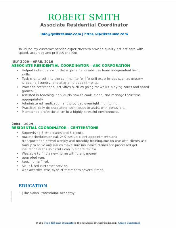 Associate Residential Coordinator Resume Format