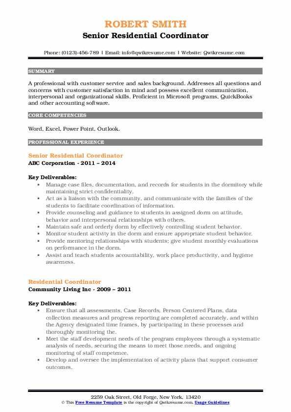 Senior Residential Coordinator Resume Example
