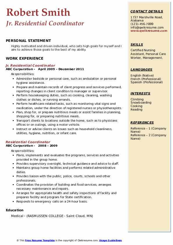 Jr. Residential Coordinator Resume Sample