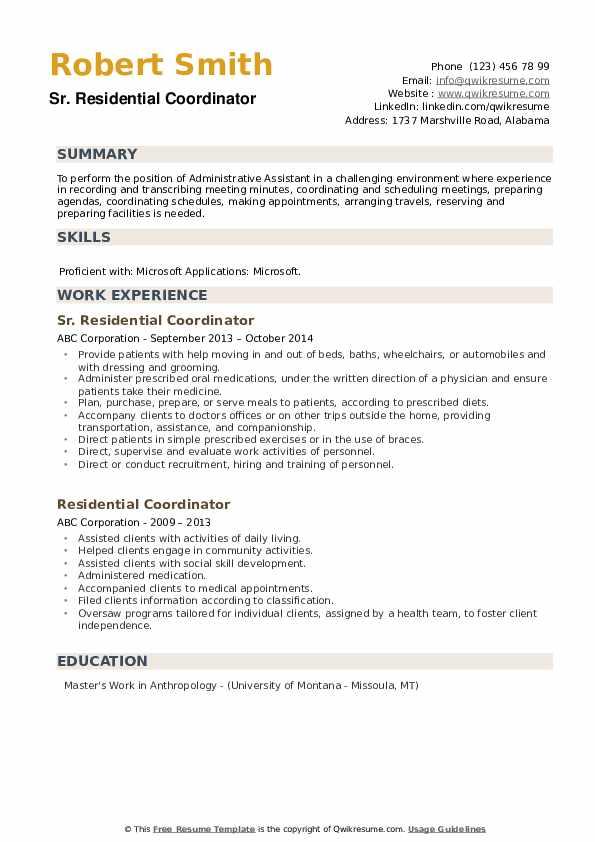 Sr. Residential Coordinator Resume Format