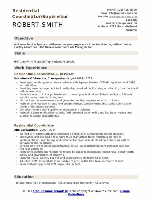 Residential Coordinator/Supervisor Resume Format