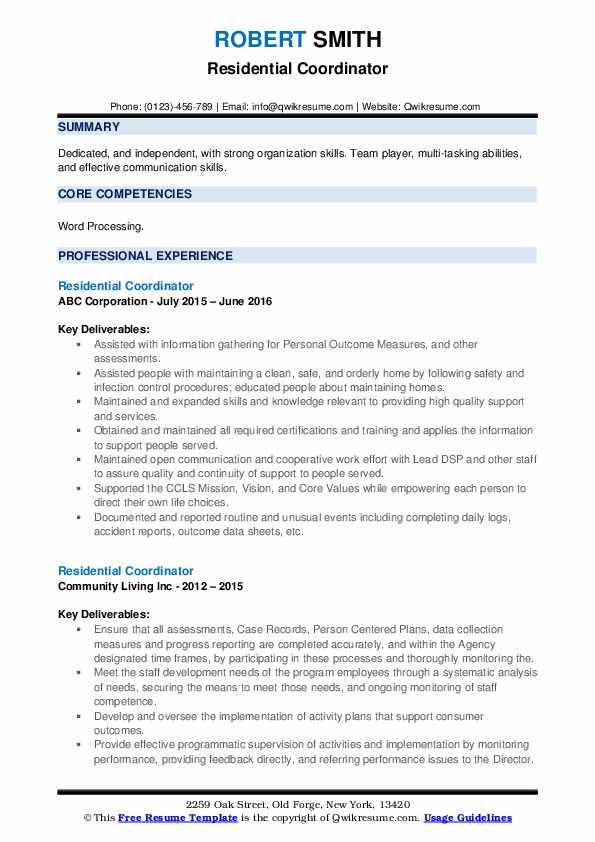 Residential Coordinator Resume example