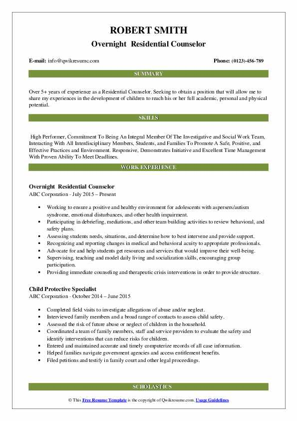 Overnight  Residential Counselor Resume Model