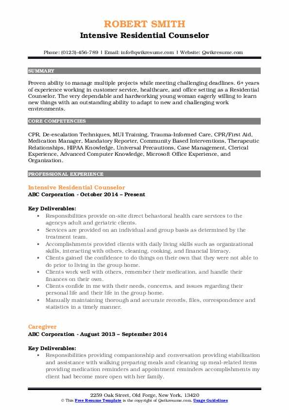 Intensive Residential Counselor Resume Example