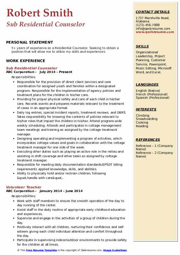 Sub Residential Counselor Resume Format