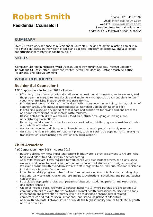 Residential Counselor Resume example