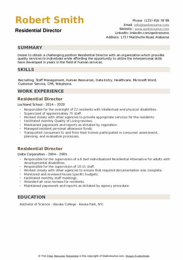 Residential Director Resume example