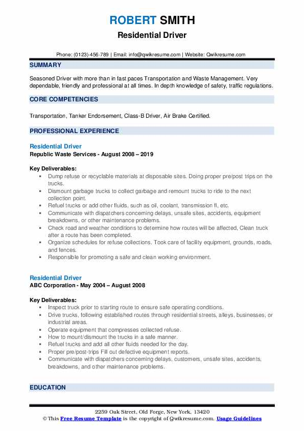 Residential Driver Resume example