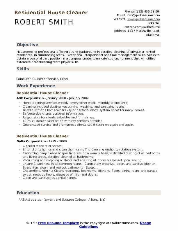residential house cleaner resume samples  qwikresume