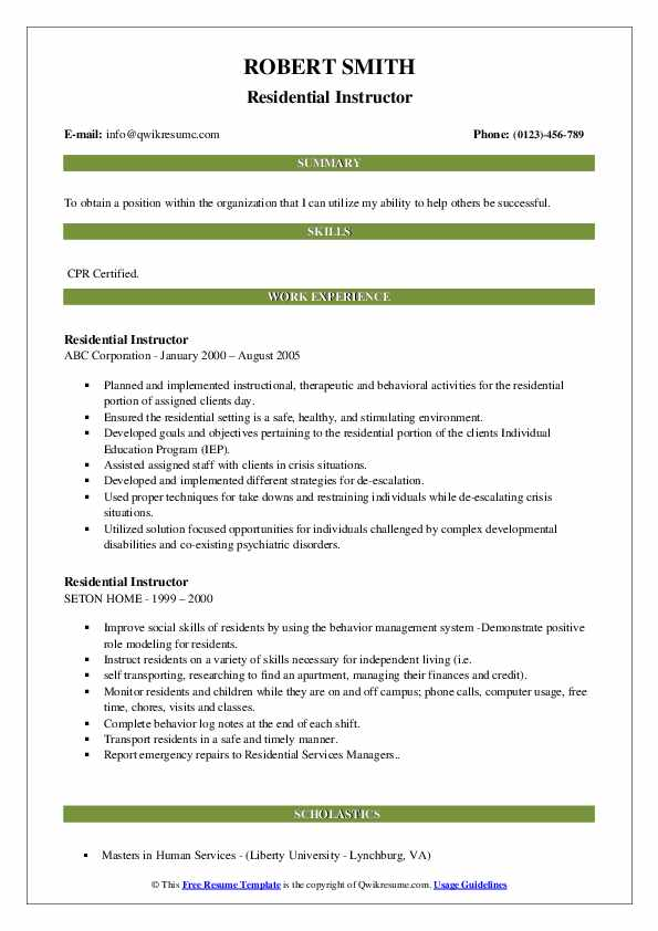 Residential Instructor Resume Format