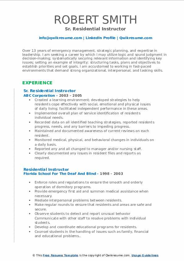 Sr. Residential Instructor Resume Model