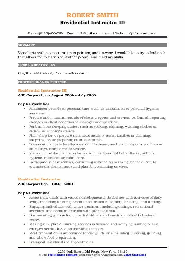 Residential Instructor III Resume Template