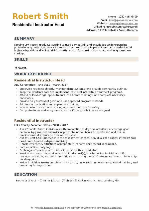 Residential Instructor Head Resume Sample