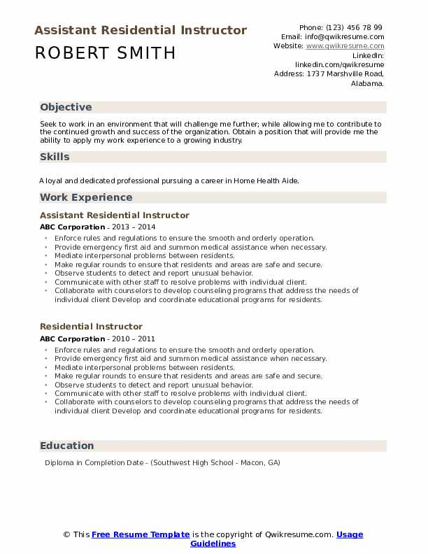 Assistant Residential Instructor Resume Sample
