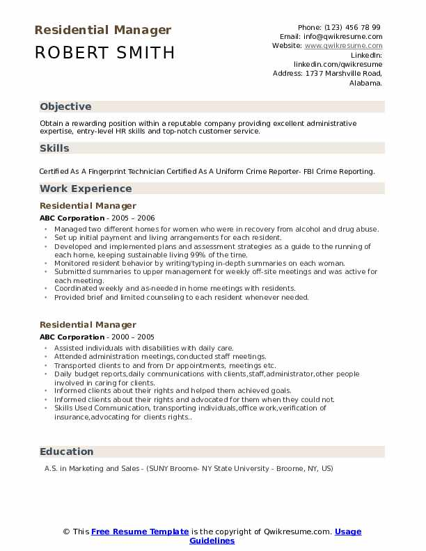 Residential Manager Resume Example