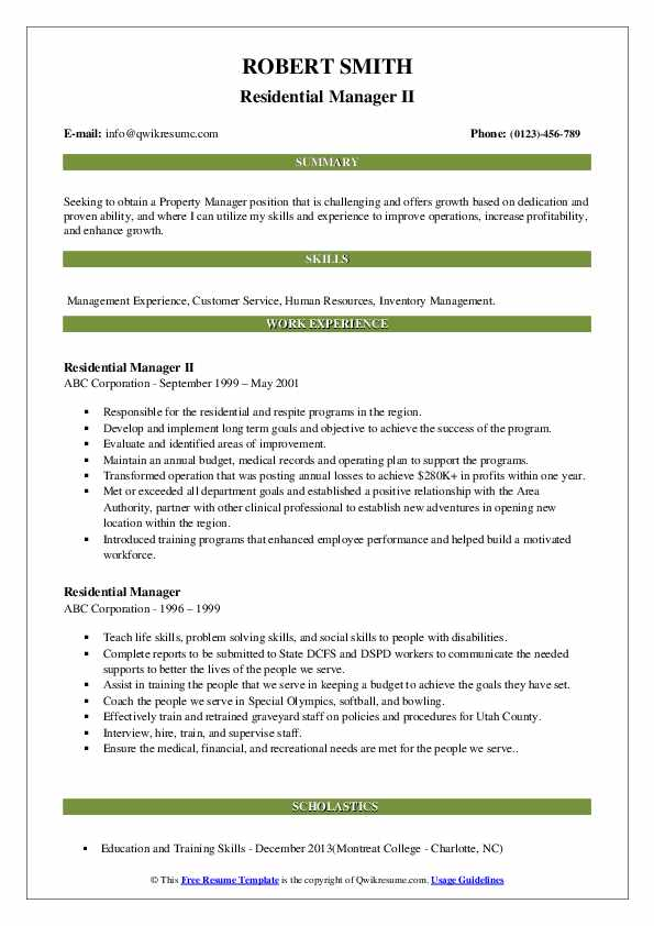 Residential Manager II Resume Sample