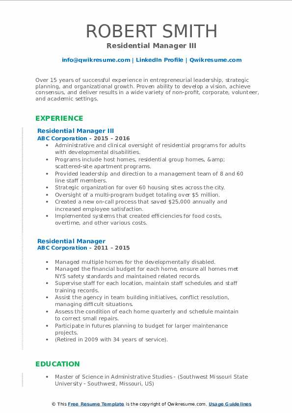 Residential Manager III Resume Model