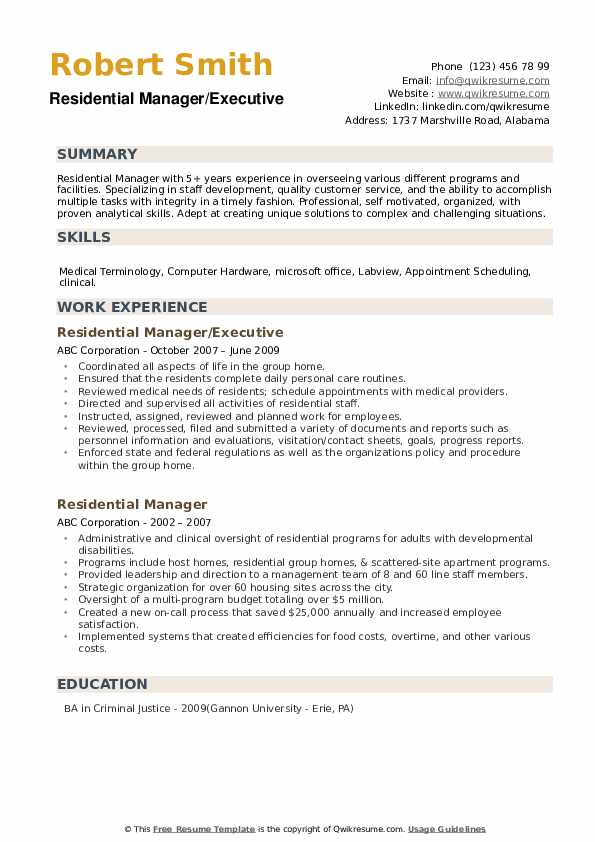 Residential Manager/Executive Resume Template
