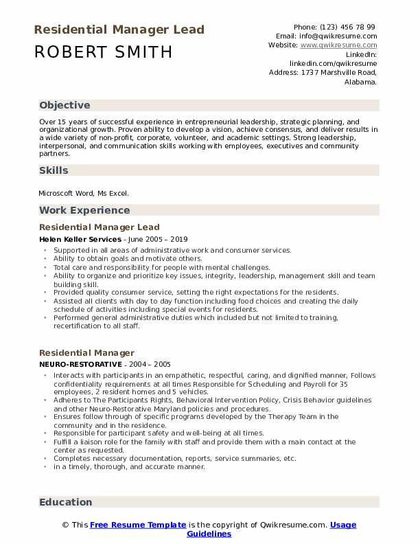Residential Manager Lead Resume Format