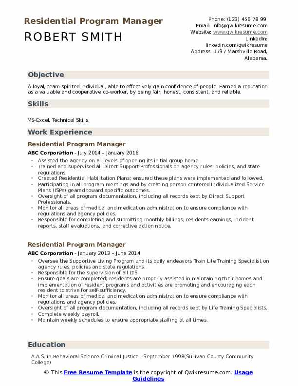 Residential Program Manager Resume example