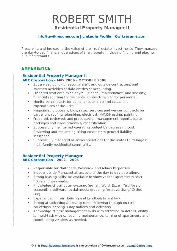 residential property manager resume samples