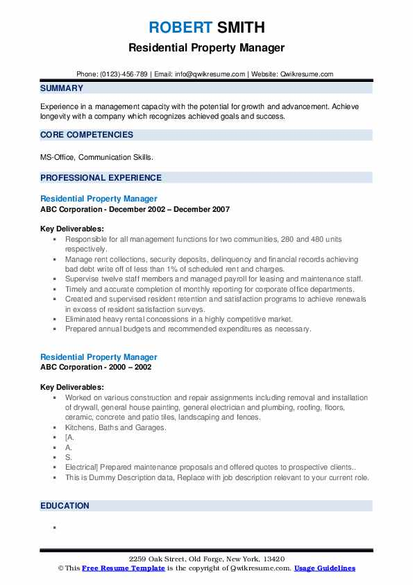 Residential Property Manager Resume example