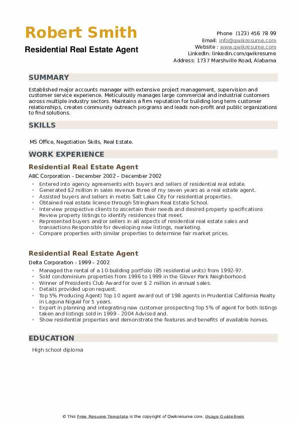 Residential Real Estate Agent Resume example