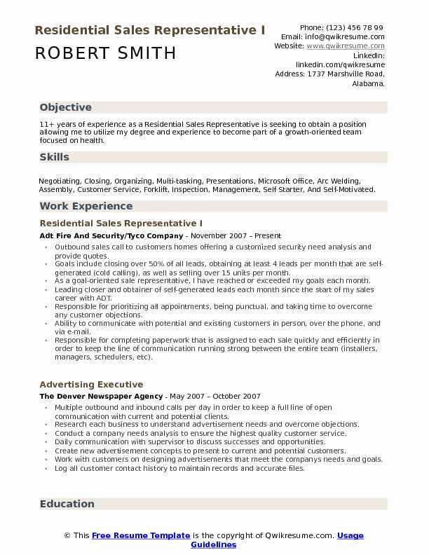 Residential Sales Representative I Resume Model