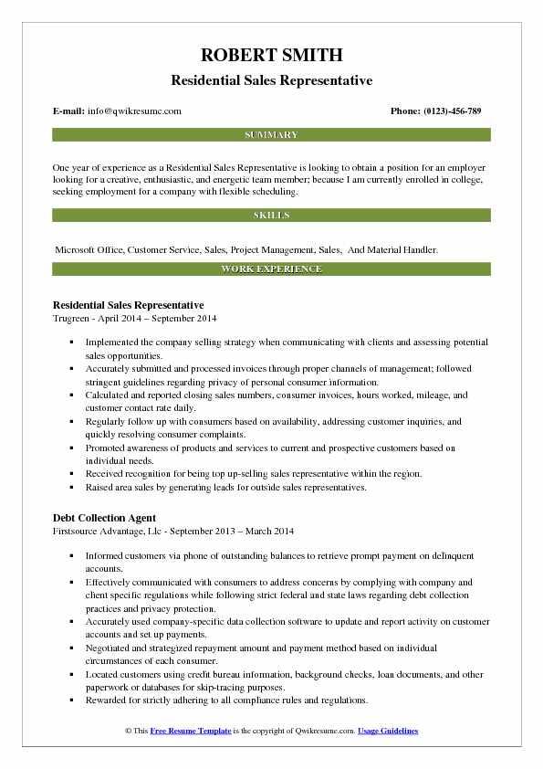 Residential Sales Representative Resume Format