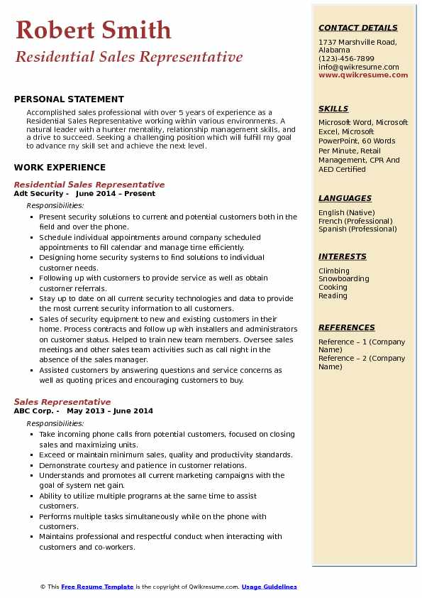 Residential Sales Representative Resume Example