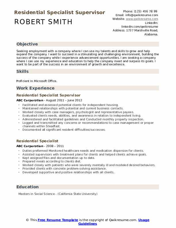Residential Specialist Supervisor Resume Example