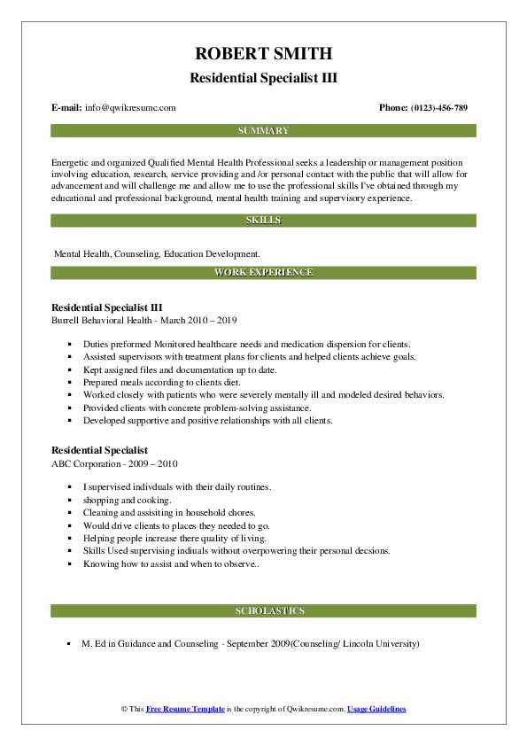 Residential Specialist Resume Samples   QwikResume